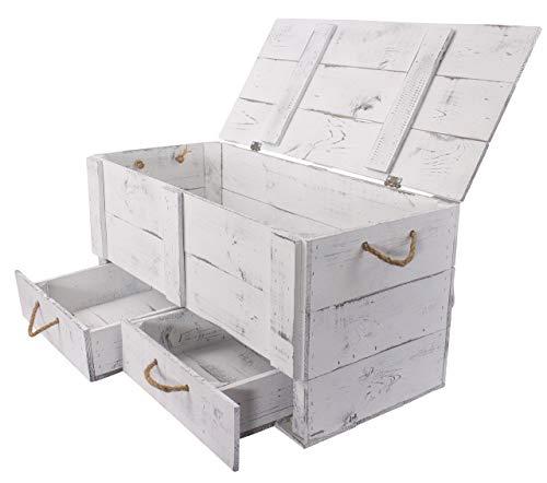Obstkisten-online 1x Vintage TRUHE - Holztruhe mit Deckel inklusive Zwei Schubladen, mit Kordeln als Griffe - NEU - 85 x 39 x 40 cm - für Decken usw