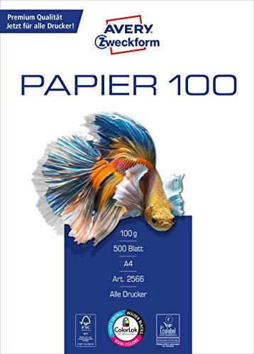 Avery 2566 – Papel (DIN A4, 100 g/m², 500 hojas)