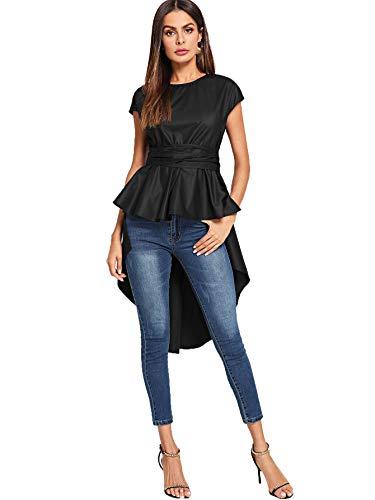 Romwe Women's Asymmetrical High Low Ruffle Blouse Self Tie Split Back Party Tops Black Medium