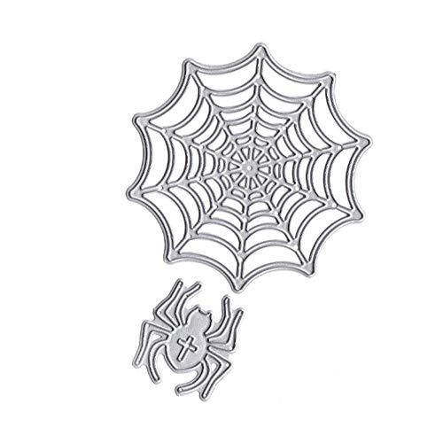 Lumanuby. 1x Spinne und Netz Stanzformen aus Karbonstahl Schneiden Schablonen für Grußkarten Einladungskarten DIY oder Deco für Halloween Party, Maskerade oder Karneval 8.9x9.0x0.1cm, Silber Farbe