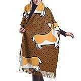 Boîte-cadeau de chien de dessin animé pour dames écharpe en laine de cachemire doux grand châle châle et enveloppe de literie chaude 27 * 77 pouces