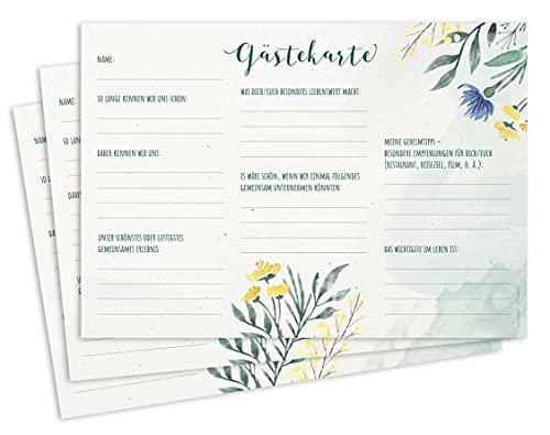 CherryCards FRUITPRINTS 25er Set Gästekarten - Gästebuchkarten DIN A5 mit Fragen zum Ausfüllen -...