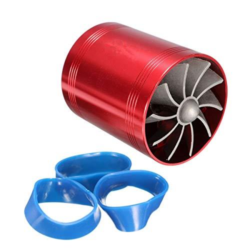 Varadyle Cargador Turbo Universal de Turbina Doble para Coche Ventilador de Ahorro de Combustible de Gas de AdmisióN de Aire Sobrealimentador de Coche AutomáTico Rojo