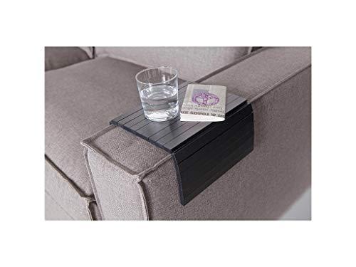 Flexibles Sofatablett/Ablage Schwarzin Größe 44 x 24cm / Armlehnenschoner für Couch, Abstellplatz für Snacks und Getränke auf der Sofa Armlehne, flexibel in der Breite