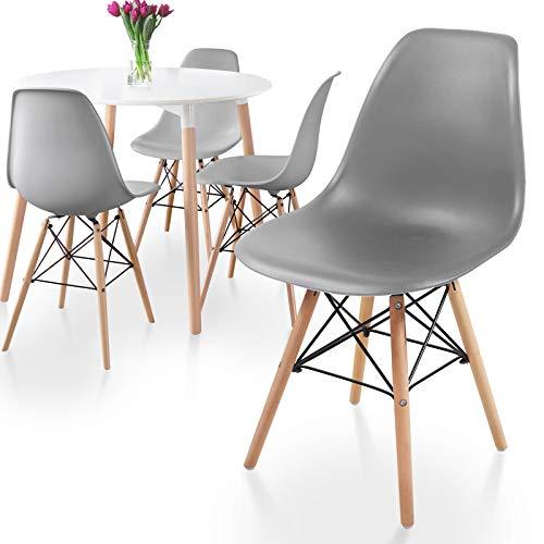 MIADOMODO® Esszimmerstühle 2er 4er 6er 8er Set - Küchenstuhl im skandinavischen Stil aus Kunststoff, Metall & Massivholz, Farbwahl - Vintage, Retro Design, Wohnzimmerstühle, Lounge (4er, Grau)