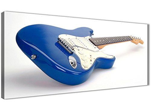 Wallfillers elektrische gitaar blauw/wit - wanddecoratie voor woonkamer - 1447-120cm