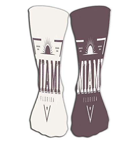 Calcetines de 50 cm para mujeres y hombres, ideales para correr, deportes atlticos, crossfit, viajes en vuelo, miami Florida textu