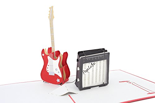 PopLife Guitar Pop Up Card for All Occasions - Happy Birthday, Graduation, Congratulations, Anniversary, Retirement, Fathers Day - Musicians, Teacher, Student, Music Lovers - Folds Flat for Mailing