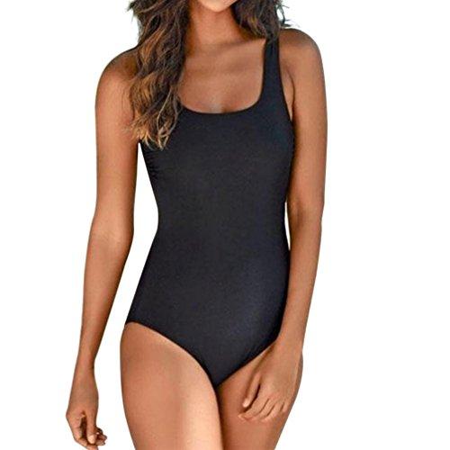 SANFASHION à Durée Limitée Été Femme Classique Vintages Maillots de Bain Col Zippé Bikinis 1 Pièces (Medium, Noir Dos Nu)