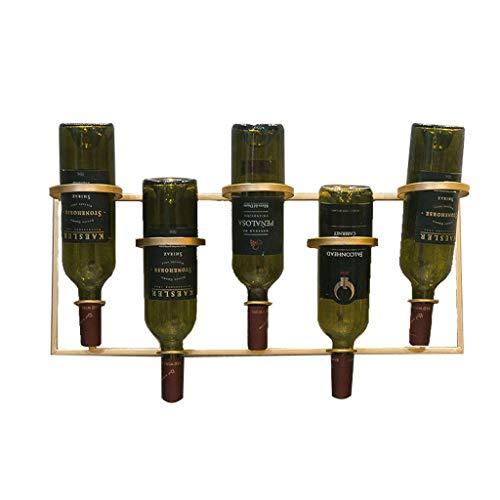 N\C ZSCC Estante de Almacenamiento de champán para Vino Soporte de Vino Dorado para 5 Botellas Estante de Vino montado en la Pared Estante de Almacenamiento de Botellas de Vino de Metal Estantes de