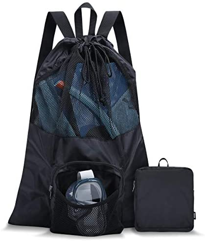 PACEARM Packable Swim Bag Mesh Swim Drawstring Backpack with 35L Upgraded Capacity Vented Design product image