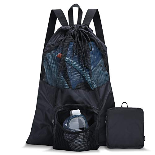 PACEARM Packable Swim Bag, Mesh Swim Drawstring Backpack with 35L Upgraded Capacity & Vented Design, Lightweight Swimmers Mesh Bag for Swimming Gear Snorkeling Equipment (Black)