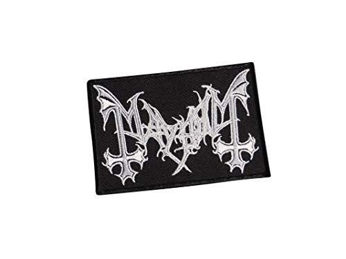 Mayhem Black Metal Death Doom Thrash Moonblood Burzum Immortal Taake Darkthron Gorgoroth Norwegen Satanic Occult Hell Devil1 besticktes Bügelbild