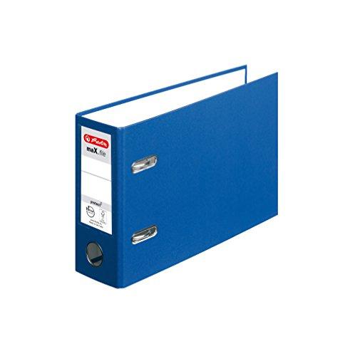 Herlitz 10842359 Ordner max.File Protect, A5, quer, 8 cm, PP-Folienbezug, FSC Mix, blau