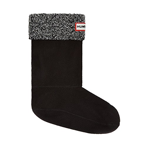 Hunter 6 Stitch Cable Boot Sock - Short Black/Grey MD (Women's Shoe 5-7)