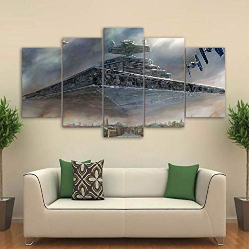 XIAOAGIAO 5 Canvas Prints Canvas Printed Pictures Wall Art 5 Pieces Star Movie war Movie Painting Imperial Battleship Star Destroyer Poster Home Decor Framed Paintings on Canvas