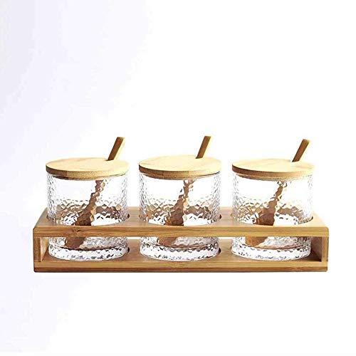 QWER2P 3 Flessen/Set Bamboe Deksel Condiment Pot Kruiden Fles Glas Keuken benodigdheden Spice Rack Zout en Peper Potje Bamboe, Geschikt voor keuken, barbecue