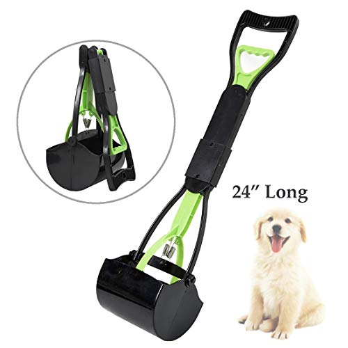 LEADALLWAY |Long Handle Poop Scooper|Folding Jaw Pooper Scoopers for Large Dogs,Ideal for Grass,Gravel,Yards or Patio Pick Up(Green/Black)