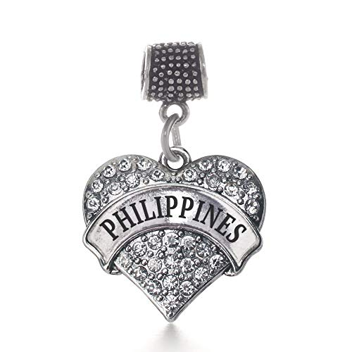 Inspired Silver - Philippines Memory Charm for Women - Silver Pave Heart Charm for Bracelet with Cubic Zirconia Jewelry