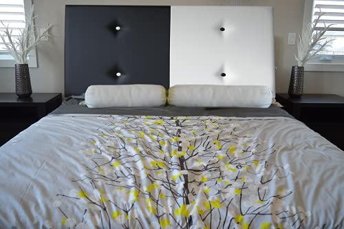 Cabecero de Cama tapizado Polipiel Modelo Paris, Todas Las Medidas y Colores Disponibles, Juvenil, Matrimonio, Moderno (Blanco/Marrón, 135x62)
