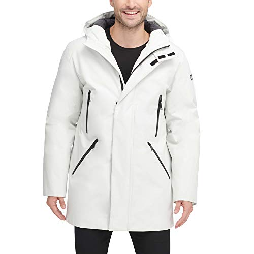 DKNY Men's Water Resistant Hooded Logo Parka Jacket, Ice, Medium