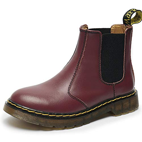 SITAILE Unisex-Erwachsene Bootsschuhe Derby Schnürhalbschuhe Kurzschaft Stiefel Winter Boots für Herren Damen, 01-ohne Fell Burgundy,,38