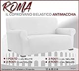 COPRIDIVANO Universale elasticizzato ROMA antimacchia BIANCO - 3 POSTI da cm. 160 a 230