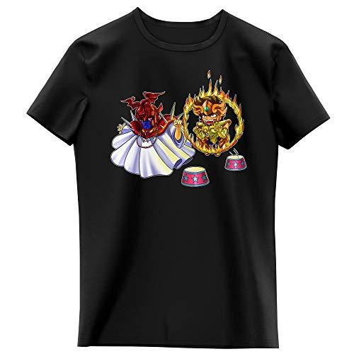 Okiwoki T-Shirt Enfant Fille Noir Parodie Saint Seiya - Aiolia Gold Saint du Lion et Le Grand Pope - Dompteur de Lion ! (T-Shirt Enfant de qualité Premium de Taille 3-4 Ans - imprimé en France)