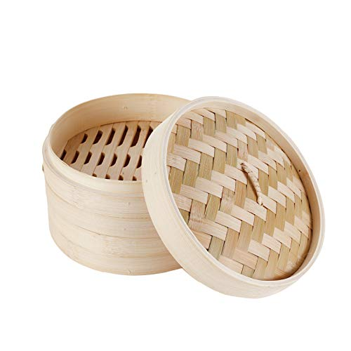 HANHAN Vaporiera in bambù Naturale, Cestello Cottura a Vapore 2 Livelli con Coperchio, Ideale per Ravioli, Verdure e Dim Sum (18CM)