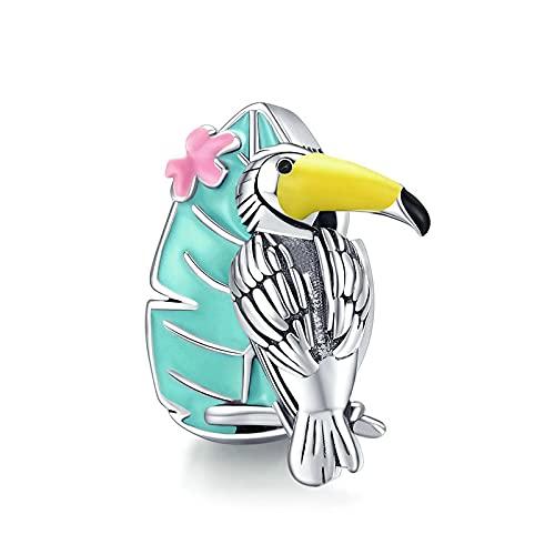 DFHTR Abalorios Serie De Vacaciones De Verano Encanto De Tucán Vibrante para Pulsera Original 925 Esmalte De Plata Encanto De Pájaro Joyería De Bricolaje