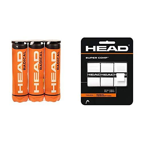 Head Radical Tennisball (3 x 4 Stück) & Unisex-Erwachsene Supercomp Griffband, White, Einheitsgröße