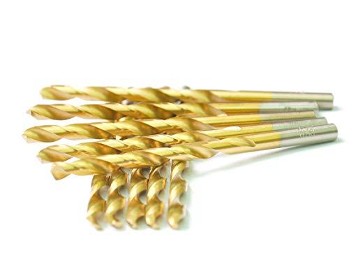 DRILLFORCE HSS Jobber Length 10 PCS,3/16 x 3-1/2Titanium Coated Twist Drill Bits, Metal Drill, Ideal for Drilling on mild Steel, Copper, Aluminum, Zinc Alloy etc. Pack in Plastic Bag (3/16)