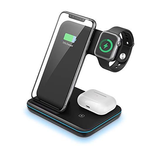 LDGG Carregador sem fio, estação de carregamento sem fio 3 em 1 com certificação Qi, adequado para Airpods/Apple Watch Series/iPhone 12/11/11 Pro/11 Pro Max/Xs/Xs Max/Xr/8/8 Plus/Se, Samsung