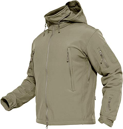TACVASEN Herren Wasserdichte Softshell Fleece Outdoor Jacke mit Klappbare Kapuze, khaki, DE M (Tag L)