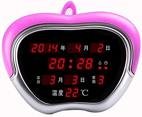 Zyyqt Wecker, Kalender elektronischer Taktgeber Büro Kalender Wanduhr Luminous Mute kreativer Taktgeber Clock (Color : Pink)