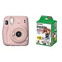【セット買い】FUJIFILM インスタントカメラ チェキ instax mini 11 ブラッシュピンク INS MINI 11 PINK & FUJIFILM インスタントカメラ チェキ用フィルム 20枚入 INSTAX MINI JP 2