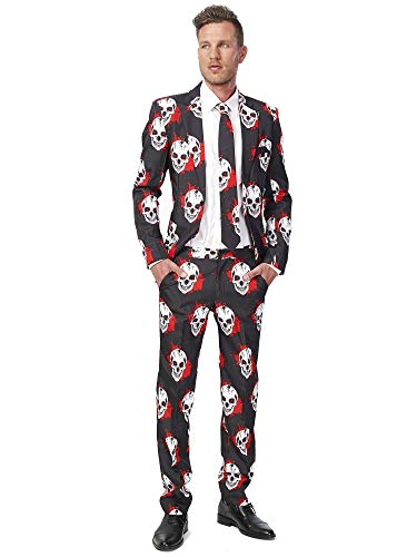 Suitmeister Herren Men Suit Business-Anzug Hosen-Set,Weiß/Rot/Schwarz (Skulls Blood),M