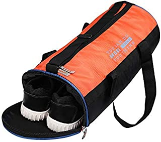 Maharth Gramin Udyog Polyester Duffel Gym Bag with Shoe Compartment (Orange and Black)