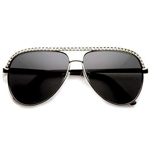 Emblem Eyewear - Diamantes De Imitación Para Mujer Aviador Metal Gafas De Sol Maravilla Moda Celebrity Bling (Plata)