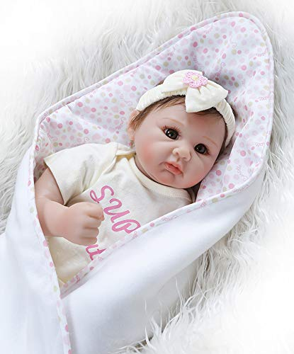 Pinky Lifelike 22 inch 55cm Soft Silicone Handmade Reborn Baby Girl Dolls Realistic Looking Newborn Baby Doll Toddler Cute Toy Birthday Gift
