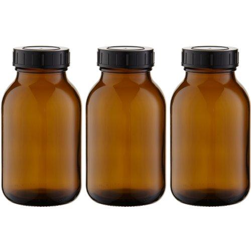 3 x Weithalsflasche 500ml Braunglas inkl. Schraubverschluss mit Dichtungsscheibe *** Weithalsflaschen, Schraubgläser, Weithalsgläser, Braunglasflaschen, Glasdosen, Allzweckgläser, Haushaltsgläser, Weithalsglas, Schraubglas, Allzweckglas, Haushaltsglas ***