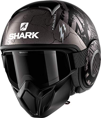 Shark Motorradhelm STREET DRAK CROWER Mat KAS, Schwarz/Grau, M