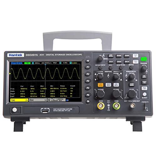 Kshzmoto Medidor de osciloscopio digital DSO2D15 Oscilómetro oscilógrafo de escritorio 800 * 480 píxeles Pantalla LCD TFT de 7 pulgadas Canales 2CH + 1CH Ancho de banda de 150MHz 1GSa / s Frecuencia d