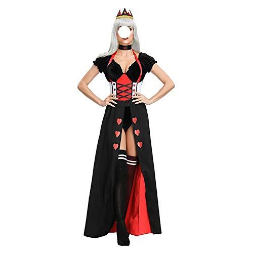 Stilvolle Halloween Kostüme, wunderschöne und festliche Halloween Kostüme Dame Halloween-Kostüm Prinzessin Königin Alice im Wunderland Böse Red Queen Kostüm Komfortabel, voller Charme Halloween-Kostüm