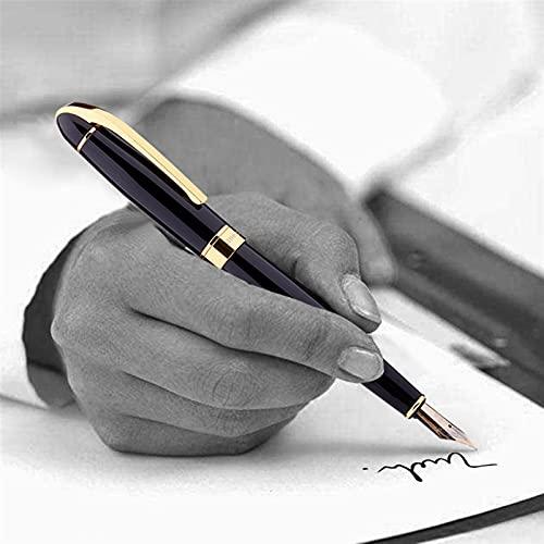 MWQCEW Tinta de Lujo Nib Fountain Pen Escritura de Negocios Firma de caligrafía Pens Oficina de Regalos Suministros de papelería para Hombres y Mujeres (Color : Black)