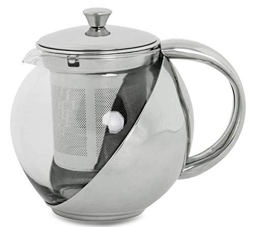 furein Tetera Multiuso de Cristal Transparente y Acero Inoxidable para Té, Infusiones o Café con Filtro (900ML)