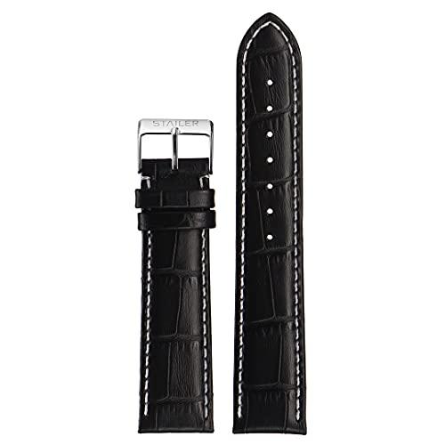Correa de reloj de piel auténtica | Stailer Original Collection | Piel de becerro italiana con relieve de cocodrilo | Tamaño 28 mm, 26 mm, 24 mm, 22 mm, 20 mm, 18 mm, Negro , 22mm (L),