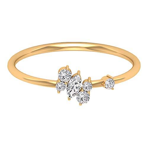 Rosec Jewels - 10 K Gelbgold Runder Brilliantschliff Markise Leicht Getöntes Weiß/Top Crystal (I) Diamant