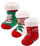3 Pairs Newborn Infant Toddler Slipper Socks Baby Girls Boys Winter Grips Socks Kids Fuzzy Home Socks (3 pairs Xmas, 0-12 months)