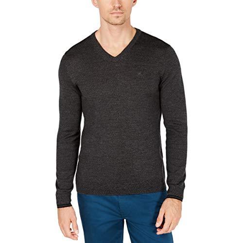 Calvin Klein Mens Big & Tall Wool V-Neck Sweater Gray 2XL